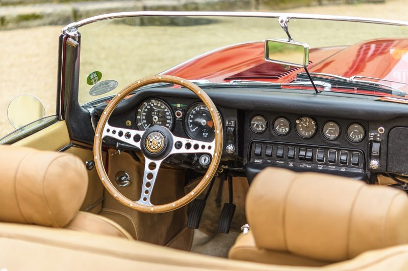 Jaguar E-Type Roadster classic British sports car interior