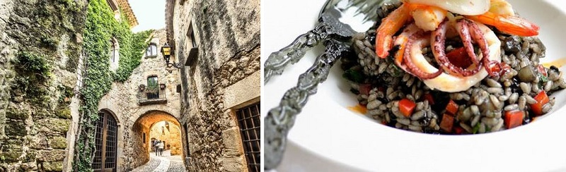 The street view of Hotel Históric in Girona - Inked risotto with seafood, one of the specialities of Girona