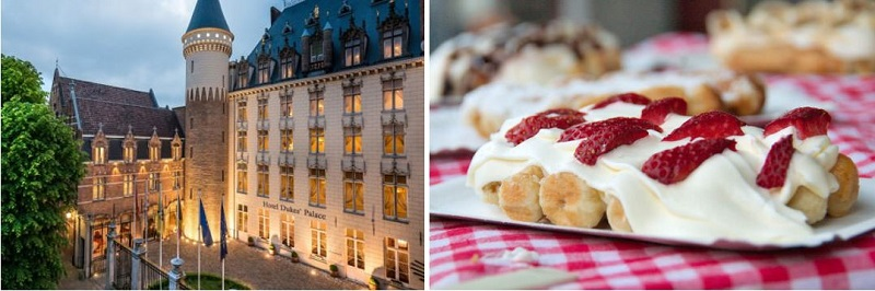 The 5 star Hotel Dukes Palace in Bruges and one of Bruges' traditional dishes, the waffle with whipped cream and strawberries
