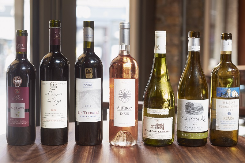 A selection of Lebanese wines