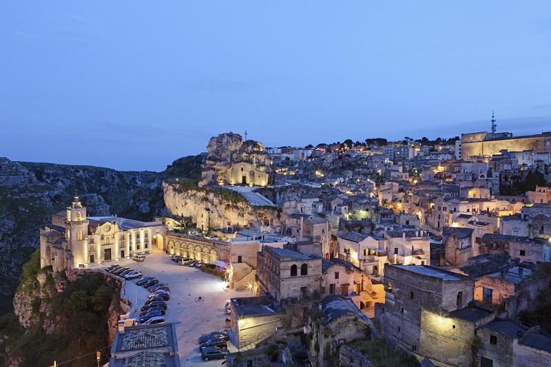 Matera Sassi cityscape by night, Basilicata Italy