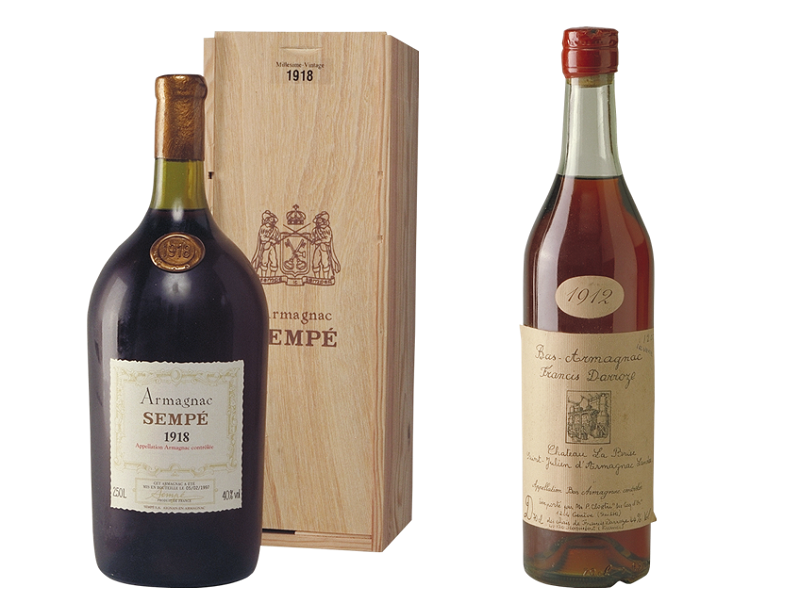 1918 Armagnac Sempé and 1912 Armagnac Darroze, Old Liquors Collection