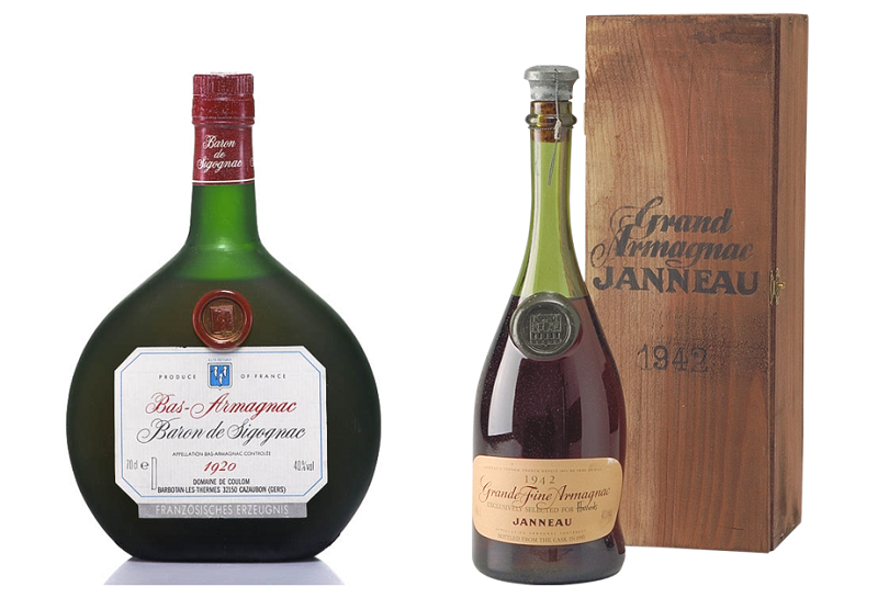 1920 Armagnac Baron de Sigognac and 1942 Armagnac Janneau Fils et Cie, Old Liquors Collection